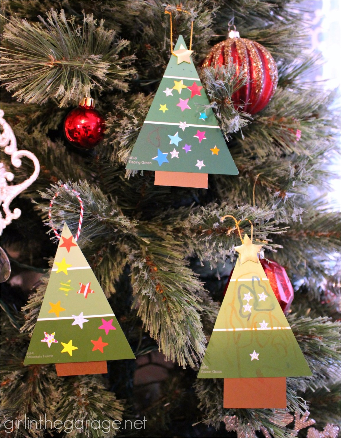 40 Diy Easy Christmas ornament Crafts Ideas 76 Easy Paint Chip Christmas Tree ornament 3