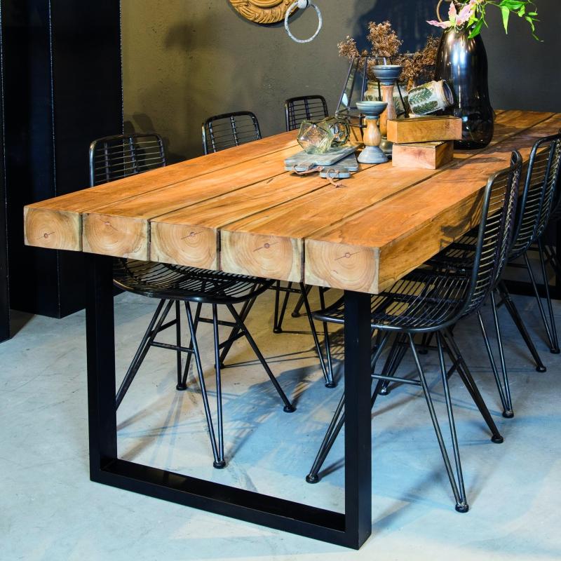 table en bois brut pied metal epais