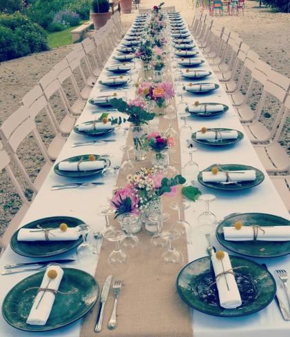 Décoration de la grande tablée de mariage