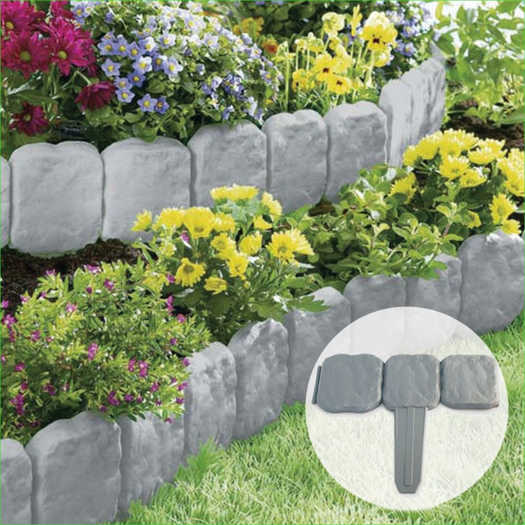Garden Edging and Borders 86 Grey Stone Slab Effect Garden Border Plastic Edging Flower Bed Grass Lawn Liner 9