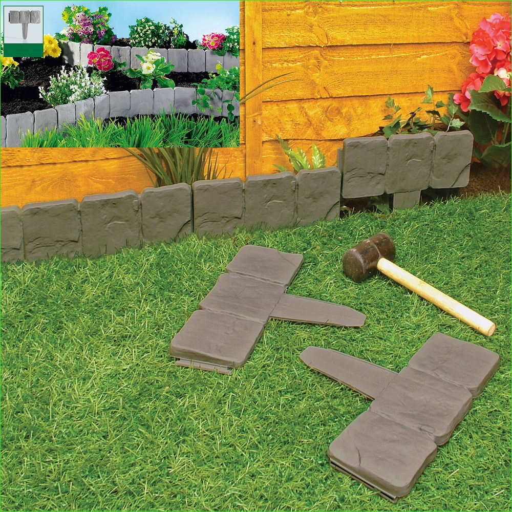Garden Edging and Borders 27 Garden Lawn Edging Cobble Stone Plastic Plant Border 8ft 2 4m Fencing Hammer In 5