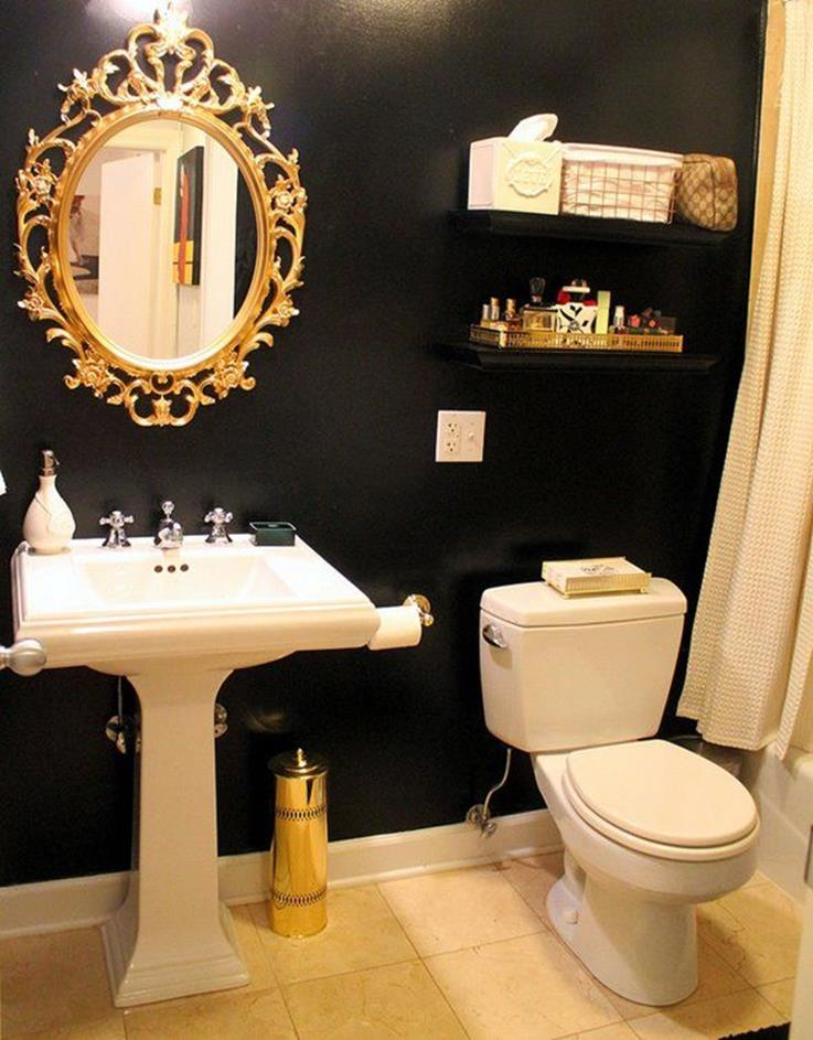 Beautiful Gold and White Bathroom 16