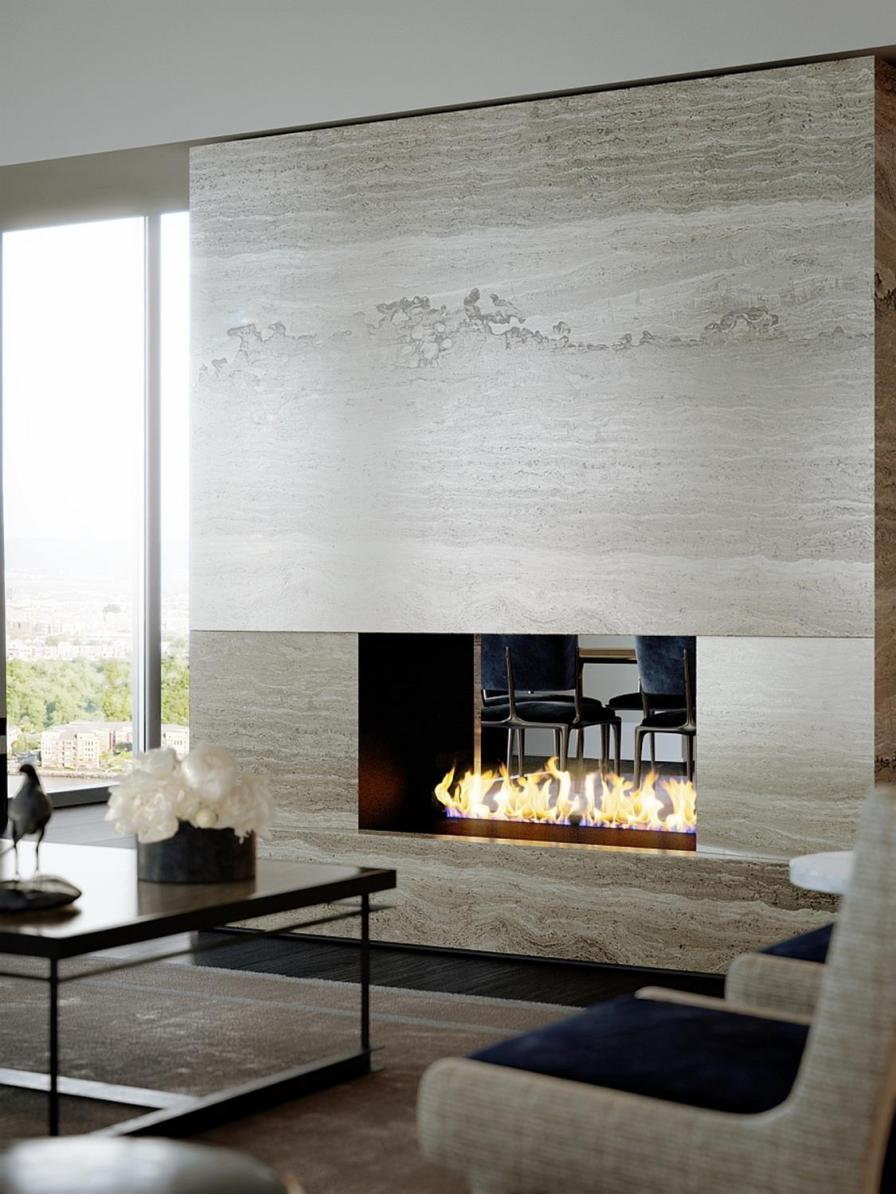 Living Room Smooth Stone Interior Walls 22