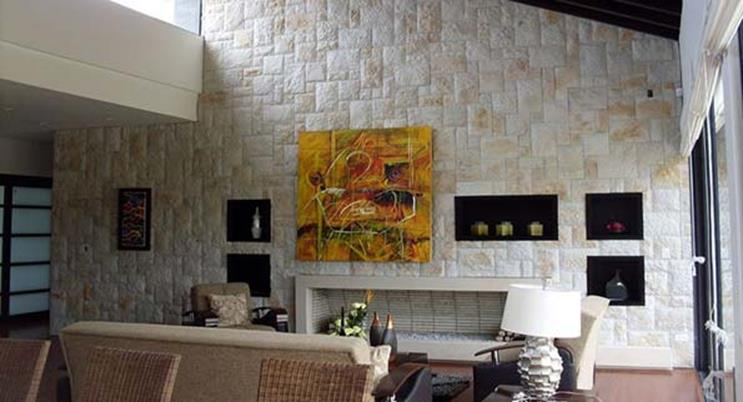 Living Room Smooth Stone Interior Walls 31