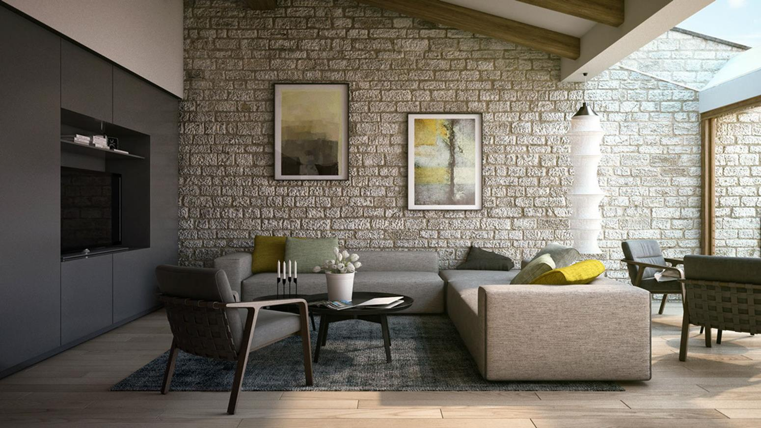 Living Room Smooth Stone Interior Walls 35