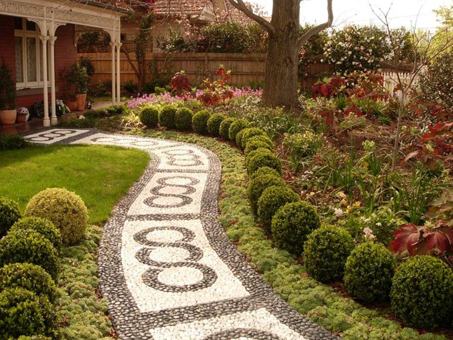 Beautiful Stone Path around Flowers 18