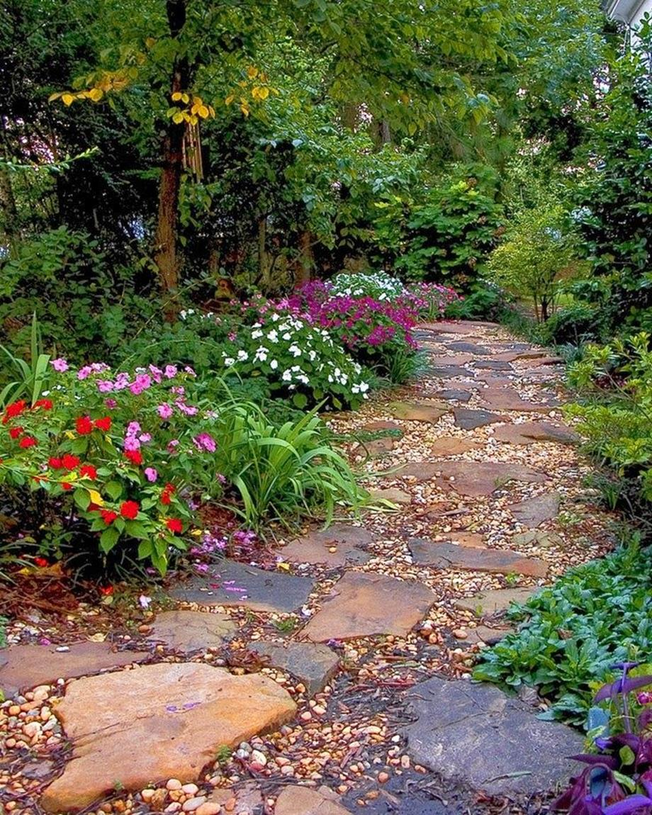 Beautiful Stone Path around Flowers 19