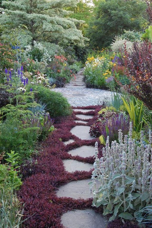 Beautiful Stone Path around Flowers 33