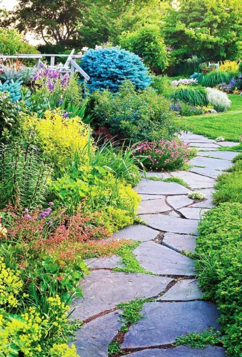 Beautiful Stone Path around Flowers 36