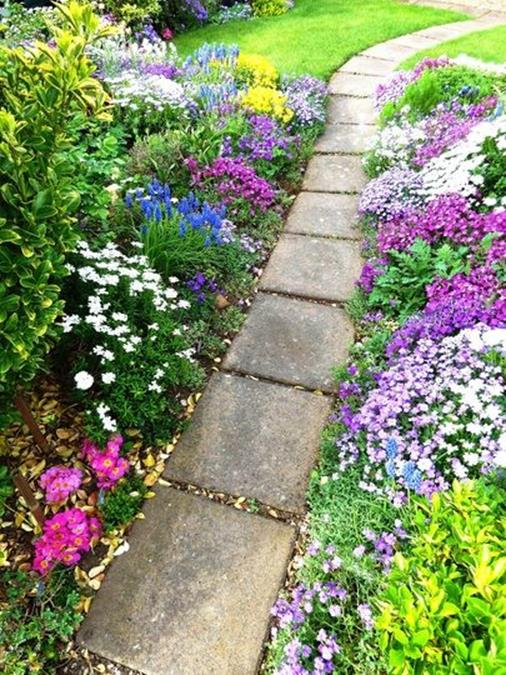 Beautiful Stone Path around Flowers 4