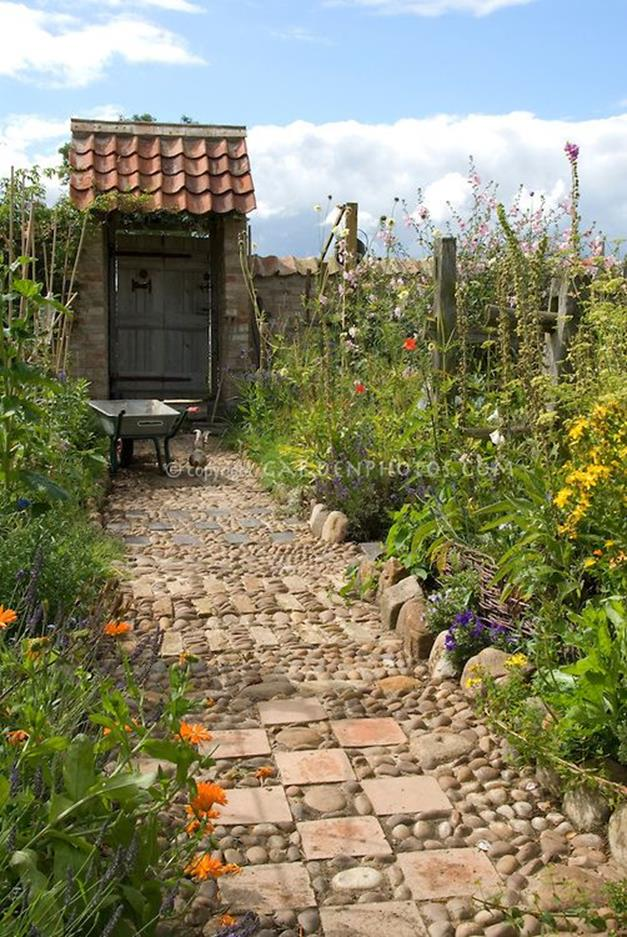 Beautiful Stone Path around Flowers 7
