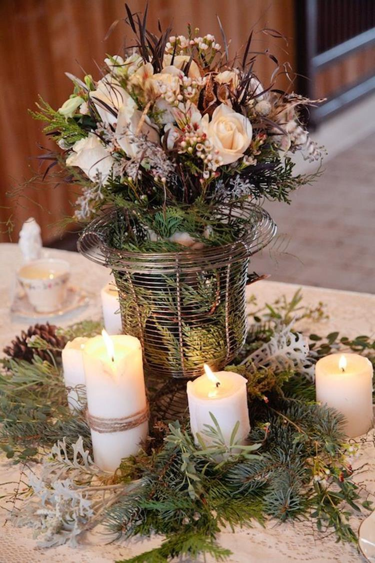 Winter Rustic Centerpieces 5