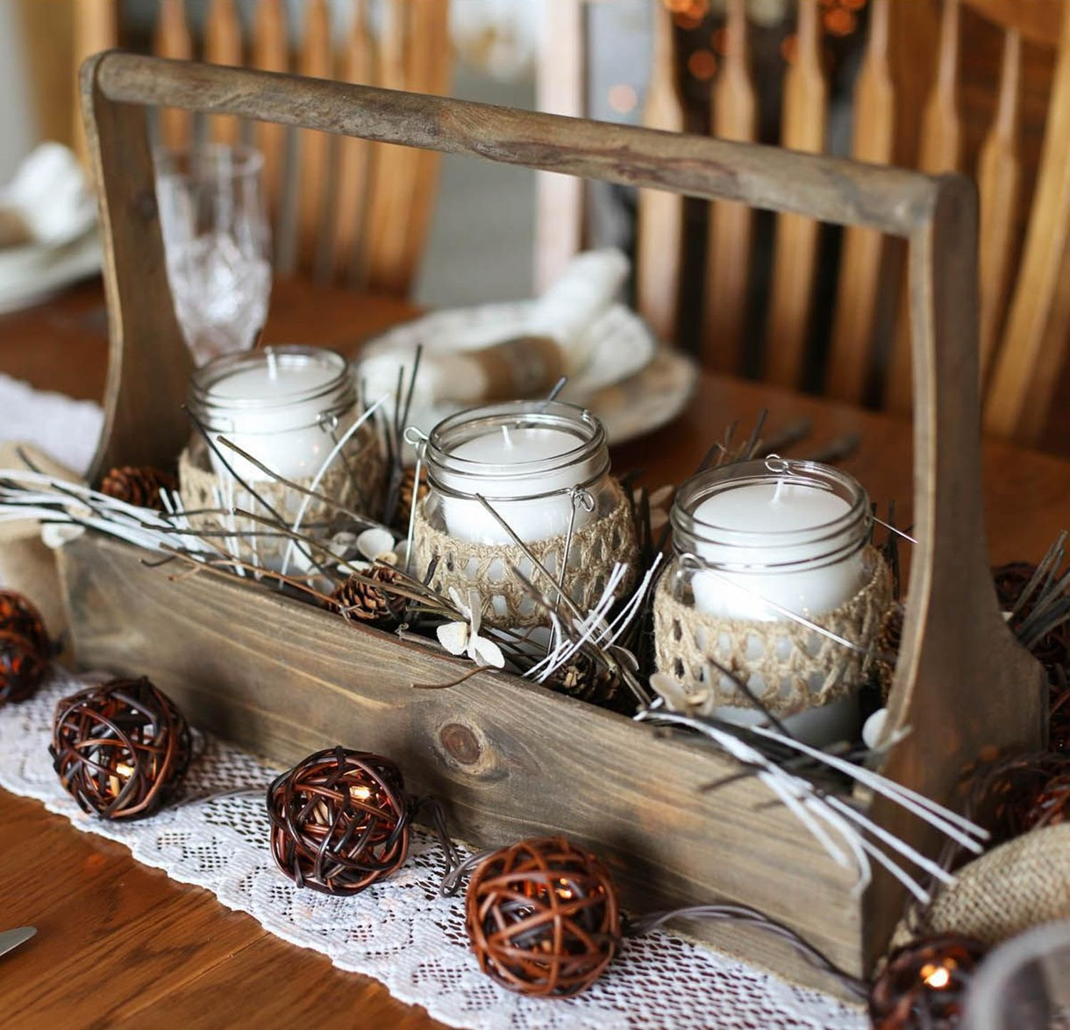 Winter Rustic Centerpieces 7