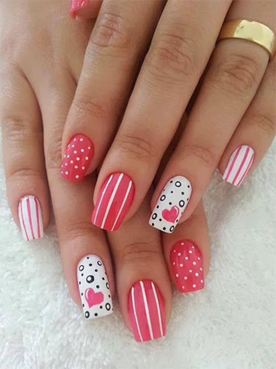 Gorgeous Valentines Day Acrylic Nail Designs 11