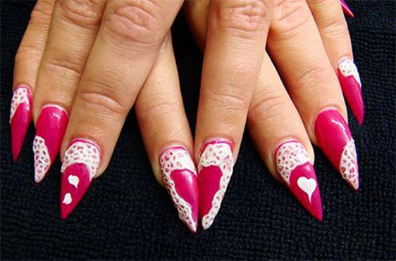 Gorgeous Valentines Day Acrylic Nail Designs 6