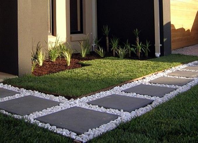 Front Yard Landscaping Ideas with White Rocks 10