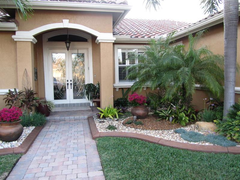 Front Yard Landscaping Ideas with White Rocks 19