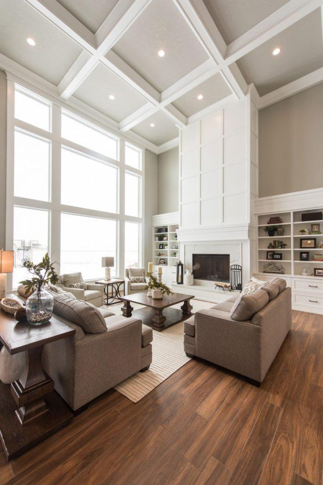 Lovely Family Room Wood Ceiling Design 7
