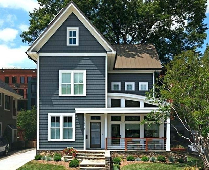 Stunning Exterior House With Brown Roof Colors 15