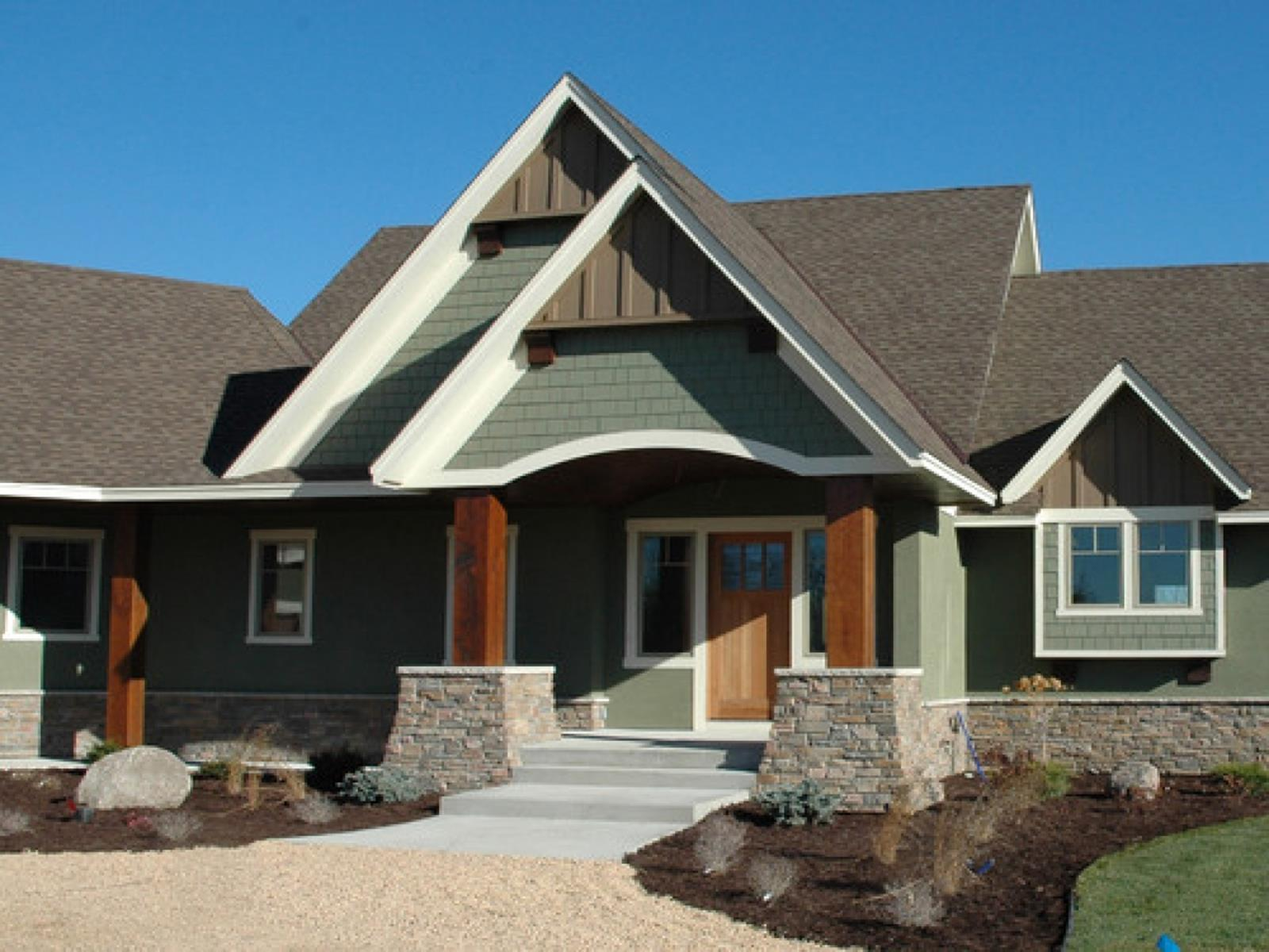 Stunning Exterior House With Brown Roof Colors 27