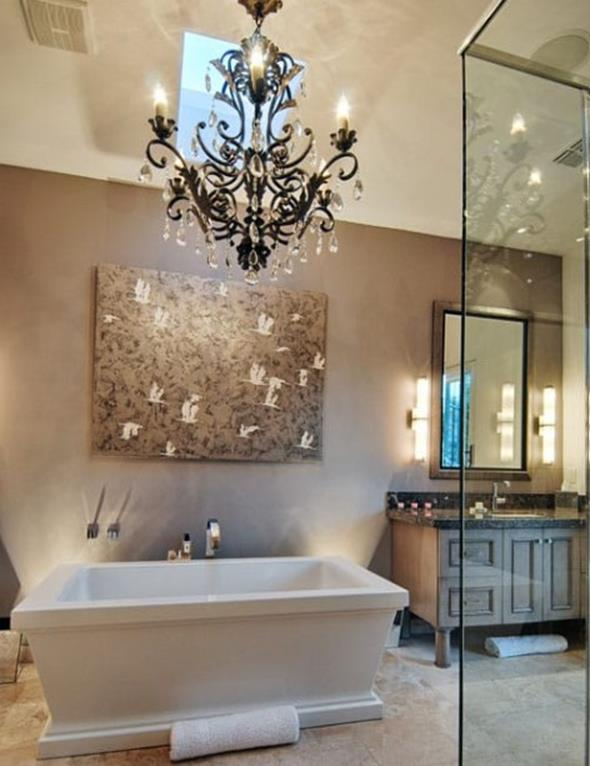 Beautiful Bathroom with Crystal Chandelier 1
