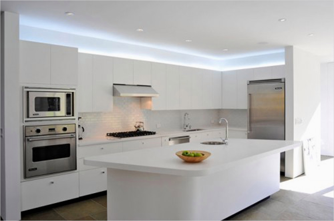 43 Stunning Minimalist Farmhouse Kitchen Cabinets 82 Alluring White Led Lights Ceiling White Counter and Floating Cabinets Facing Stylish 2