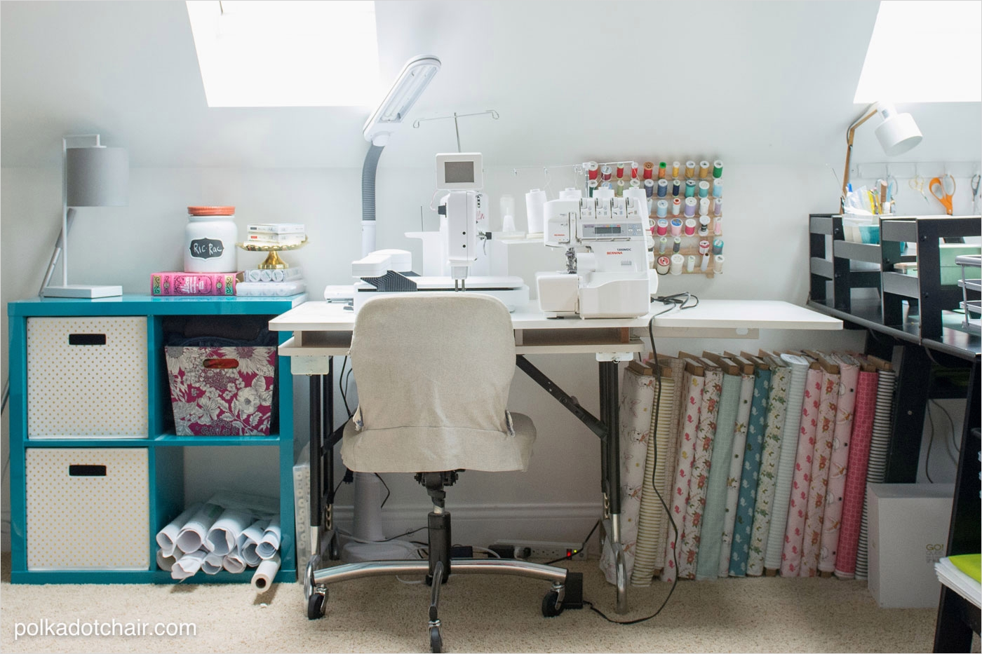 40 Creative Sewing Room Storage Ideas 53 Room Makeover Reveal Sewing Room Ideas the Polka Dot Chair 9