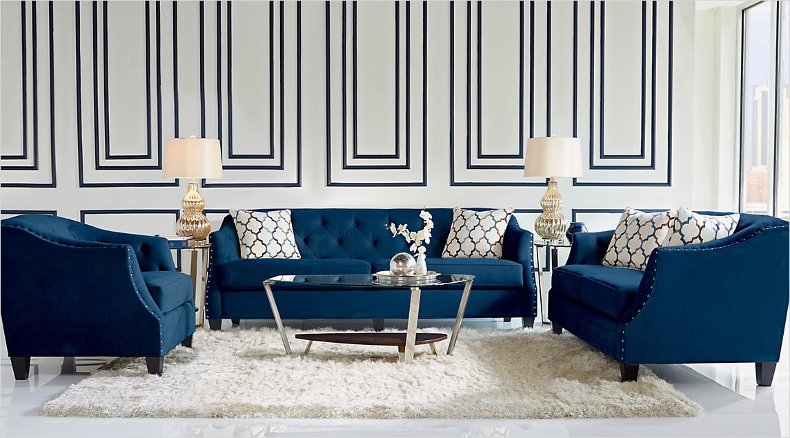 41 Amazing Navy Blue and White Living Room 71 Navy Blue Gray White Living Room Ideas Decor Navy Blue sofa with Wood and Mirror Coffee 8