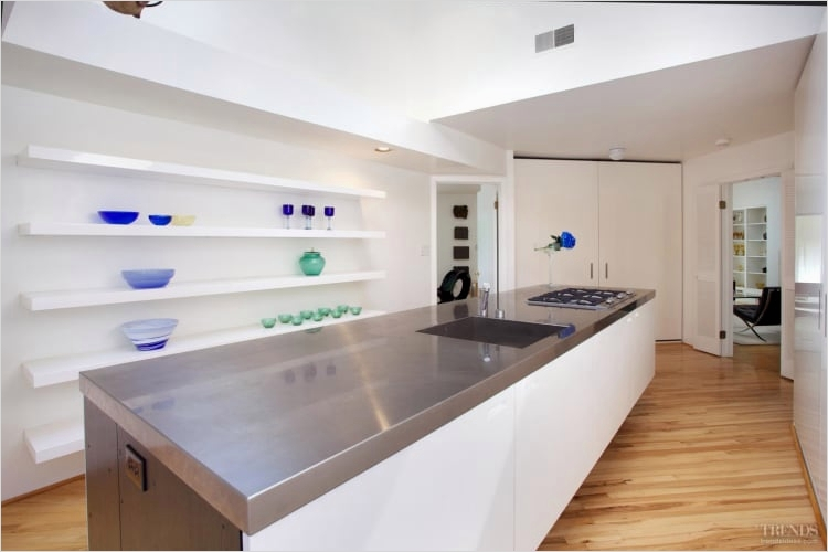 42 Stylish Ideas Minimalist Kitchen Shelves 51 Floating island In Minimalist White Kitchen with Concealed Appliances Open Shelving 5