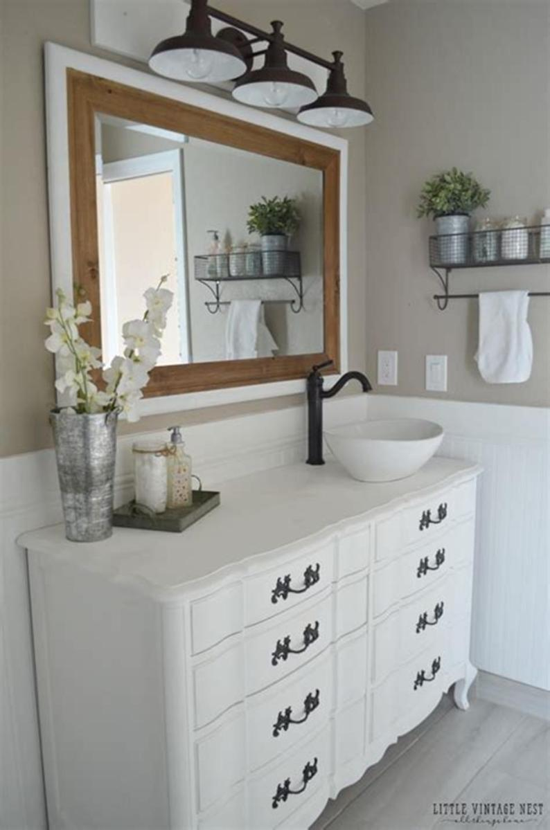 35 Cheap Country Rustic Farmhouse Bathroom Vanities Ideas 43