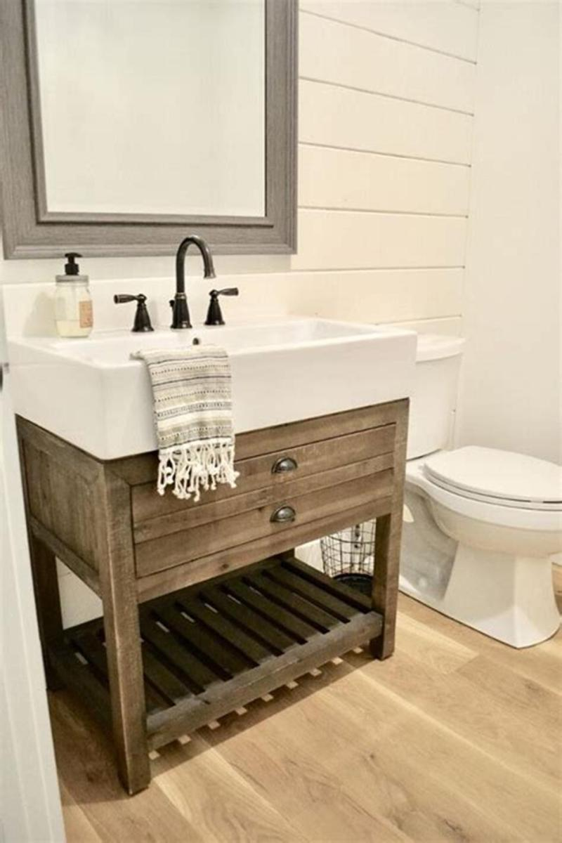 35 Cheap Country Rustic Farmhouse Bathroom Vanities Ideas 51