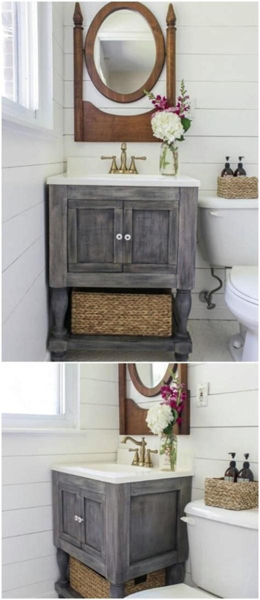 35 Cheap Country Rustic Farmhouse Bathroom Vanities Ideas 55