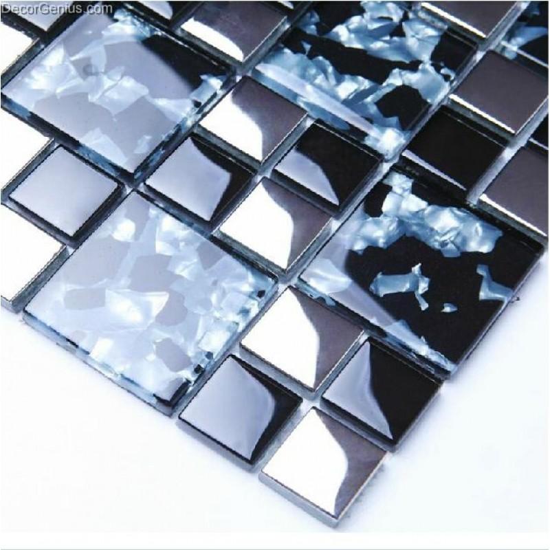sea blue glossy pure diamond with pattern mosaic countertop glass mosaic tiles