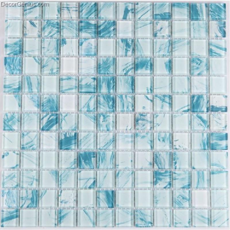 11 sheets sky blue color glass blend navy glass mosaic tiles cheap sink floor tile