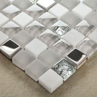 Mirror Stainless Steel Tile Metal Mixed Stone Bathroom