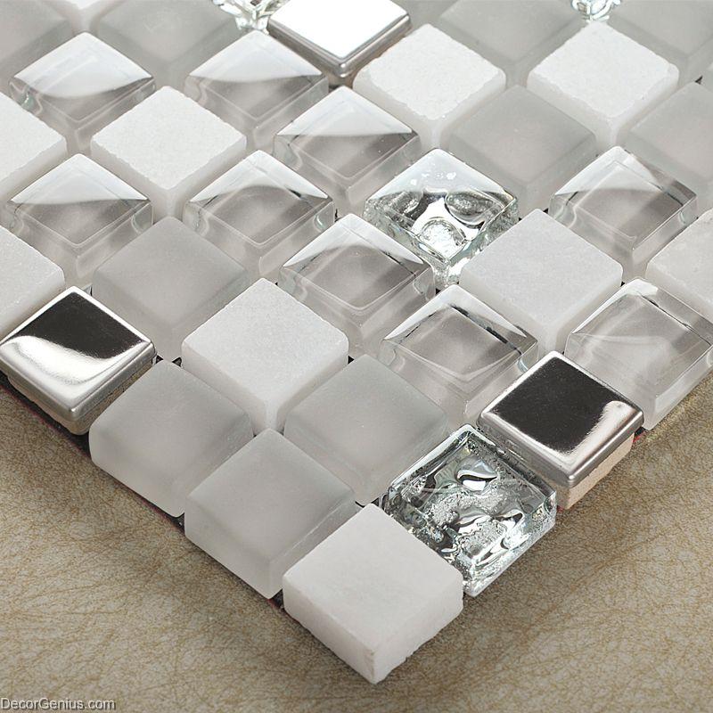Mirror Stainless Steel Tile Metal Mixed Stone Bathroom