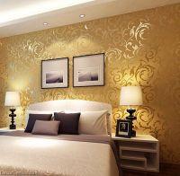 Popular 3D Design DK Gold Bedroom Wallpaper Modern Style ...