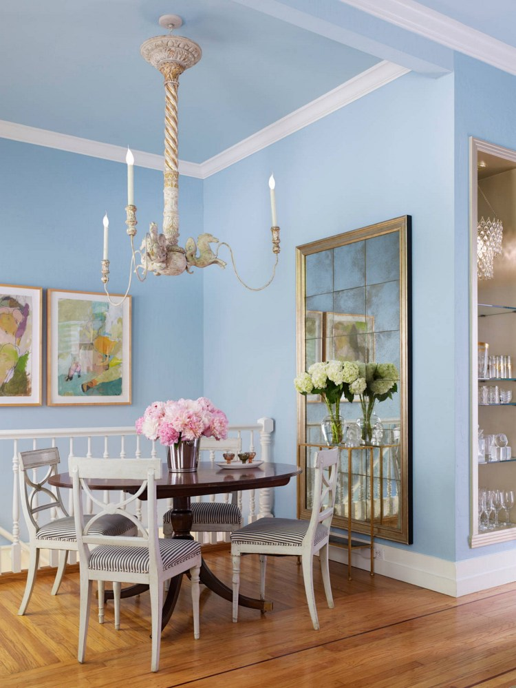 Chic Style Pastel Blue Dining Room (source - Shoproomideas.com)