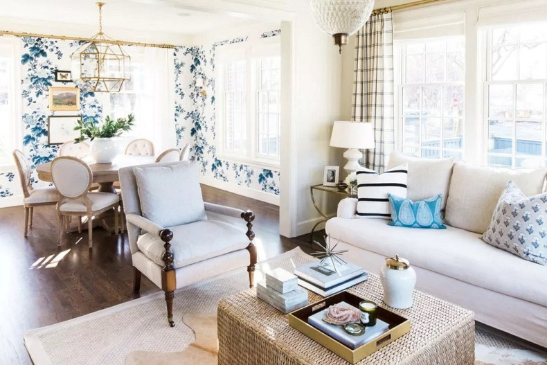 Floral Wallpaper Adds Personality To A Neutral Dining Room