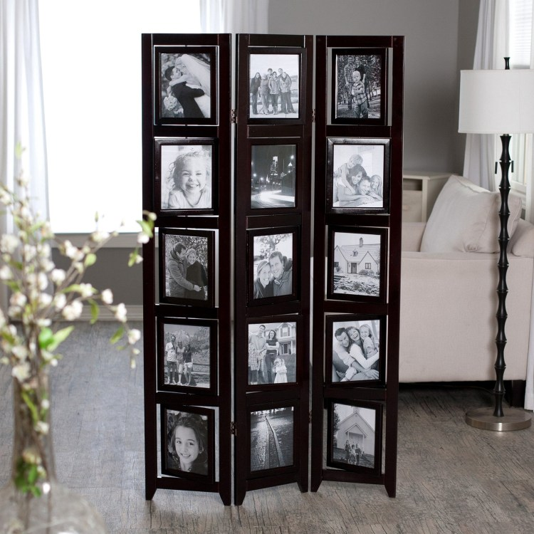 Impressive Room Divider Screen Design With Wooden Framed Photo Shaped Screen