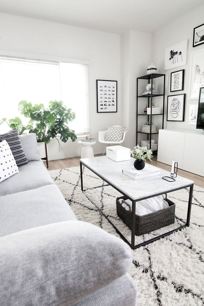 Monochrome Living Room Neutral Space Black And White Frames Indoor Plants Grey Couch Sofa Natural Light