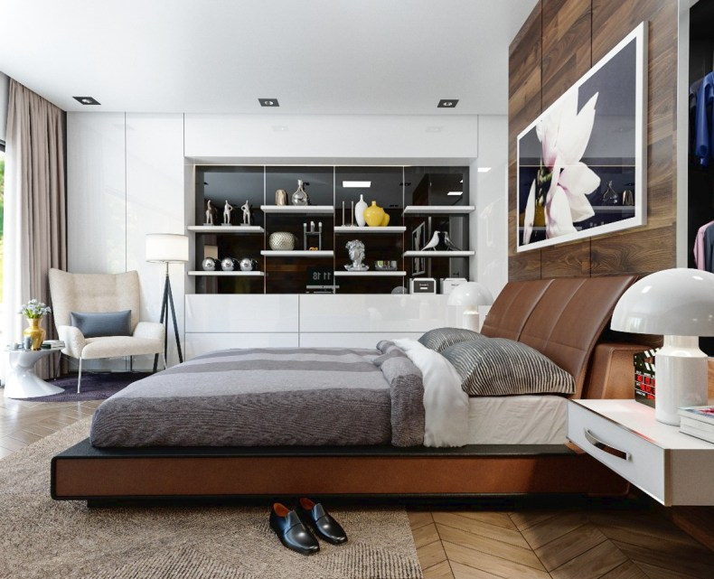 Wood Accents For Glossy White Walls Bedroom