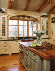 Cream And Brown Kitchen Cabinets