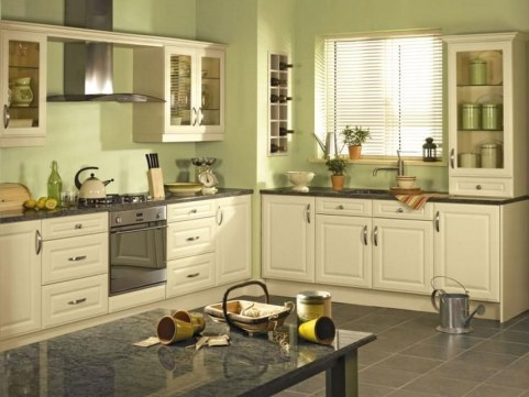 Cream Kitchen Cabinets Black Granite Countertops