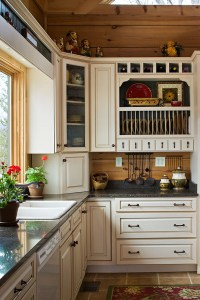 Cream Kitchen Cabinets Dark Tile Floors