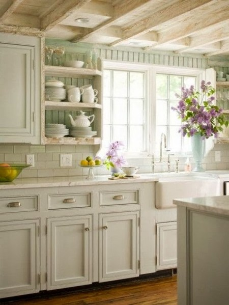 Cream Kitchen Cabinets With White Appliances (3)