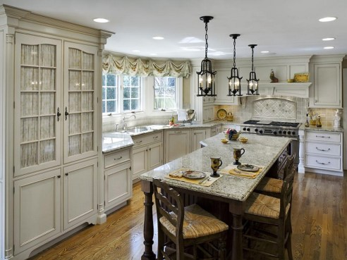 French Country Kitchen And Dining Room White Cabinets