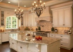 French Country Kitchen And Dining Room With Chandelier