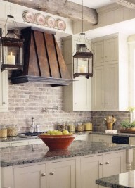 French Country Kitchen Cream Cabinets With Tile Backsplash