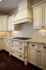 French Country Kitchen Cream Cabinets With Wood Floor